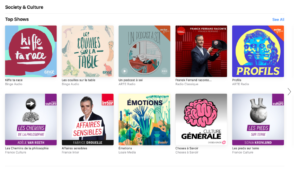 A list of podcast covers from the Apple store